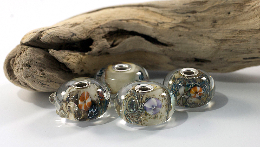 Sea beads - glass, sterling silver
