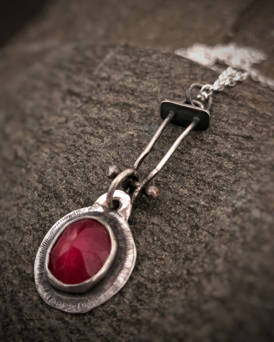 ruby and silver sterling necklace