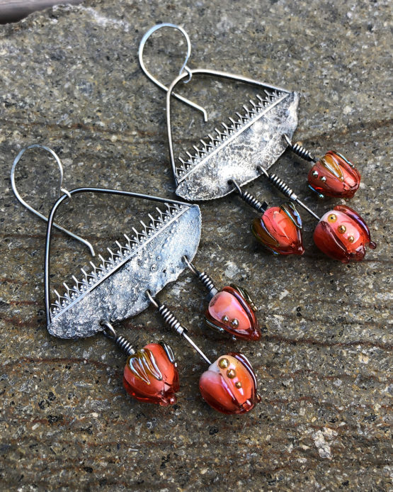 statement earrings with glass