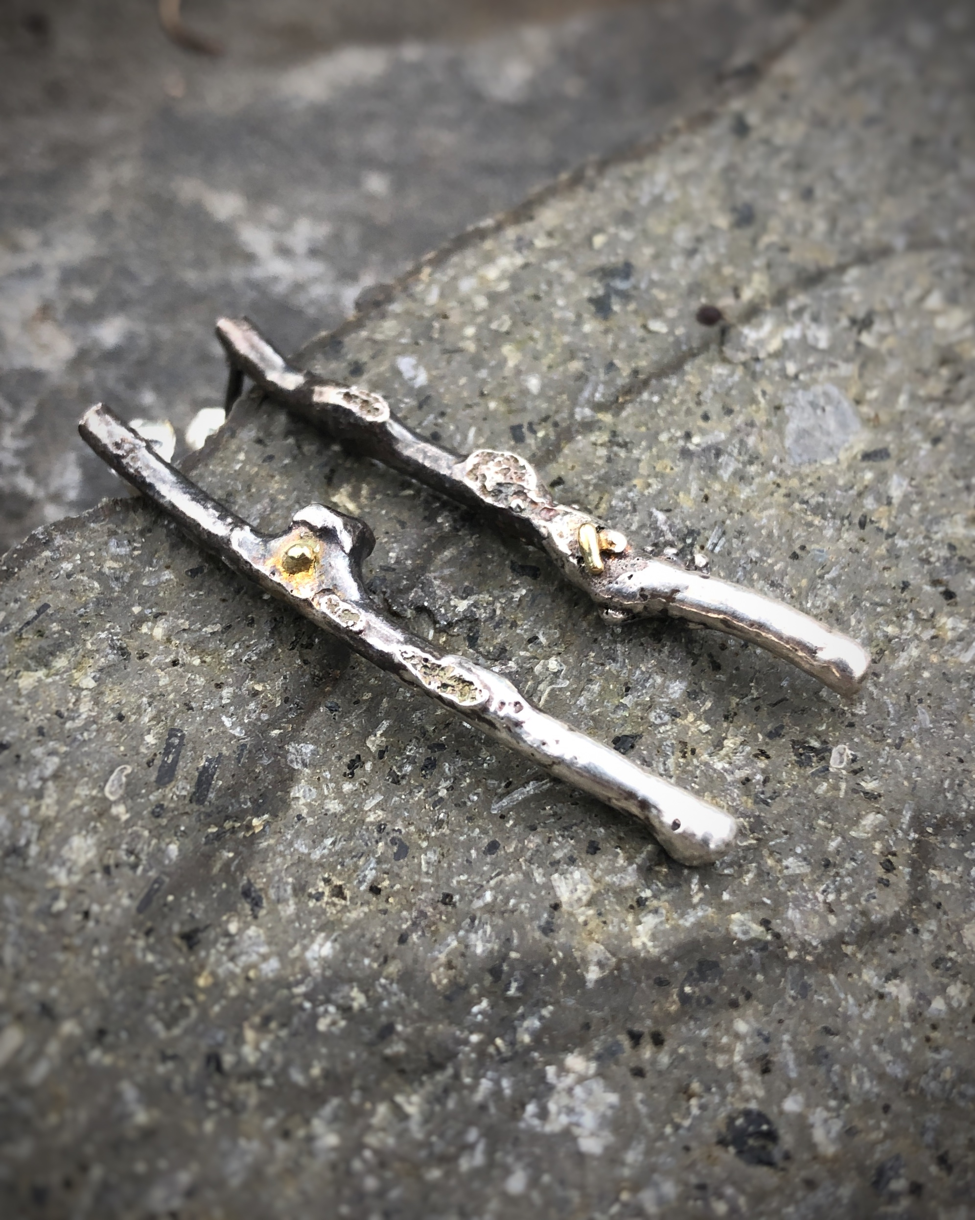 Winter's Thaw Silver and Gold Stick Earrings