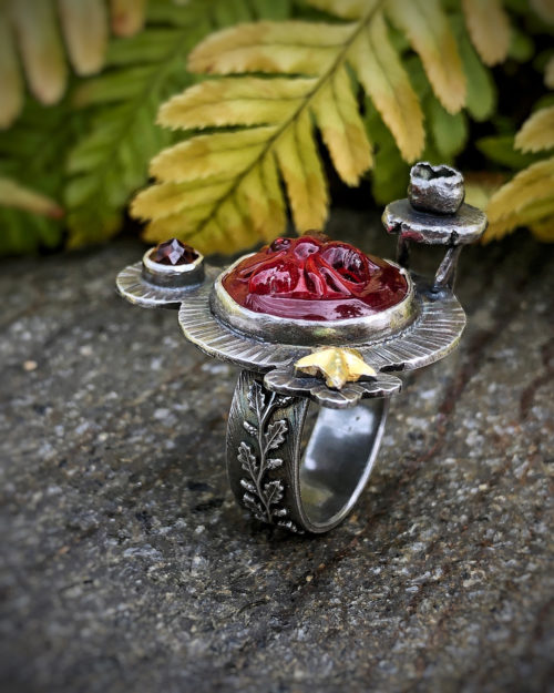 Bee and Star Glass and Gold Ring