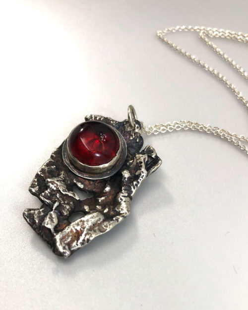 Fused Silver and Red Glass Pendant