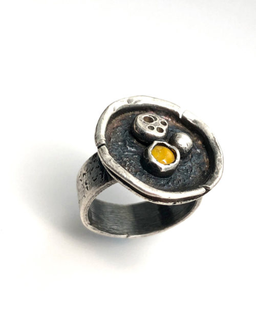 Silver and Glass Trio Ring